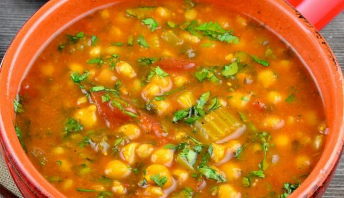Chickpeas Veggie Soup with Bread Recipe