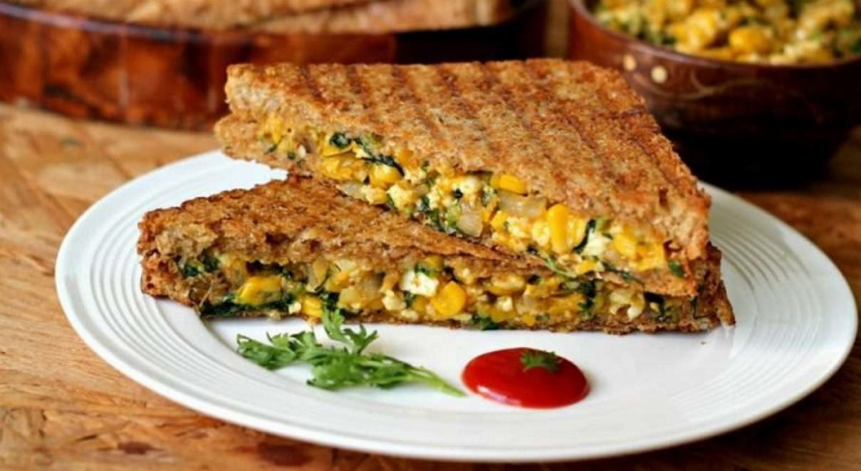Grilled Paneer Corn Sandwich Recipe
